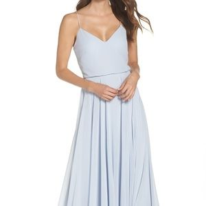 Inesse Chiffon V-Neck Spaghetti Strap Gown - Blue